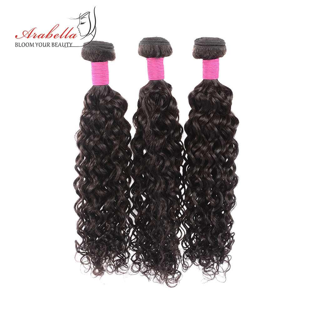 Water Wave Hair Bundles With Lace Frontal Pre Plucked Bleached Knots Arabella Natural  Hair Frontal With Bundles 6