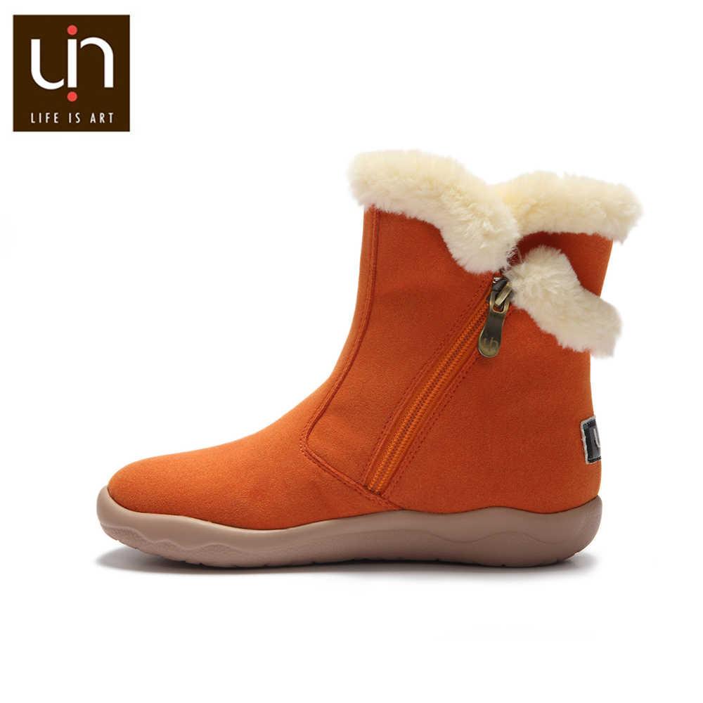 UIN Hakkar serisi sonbahar/kışlık botlar büyük çocuklar sıcak uzun kürk çizmeler Zip tasarım çocuk ayakkabı mikrofiber süet çizme kız/erkek