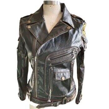 Classical Motorcycle Leather Jackets Men's Spring Coat Jacket Slim Multi Pocket Zipper Coat Solid Color Genuine Leather Coat