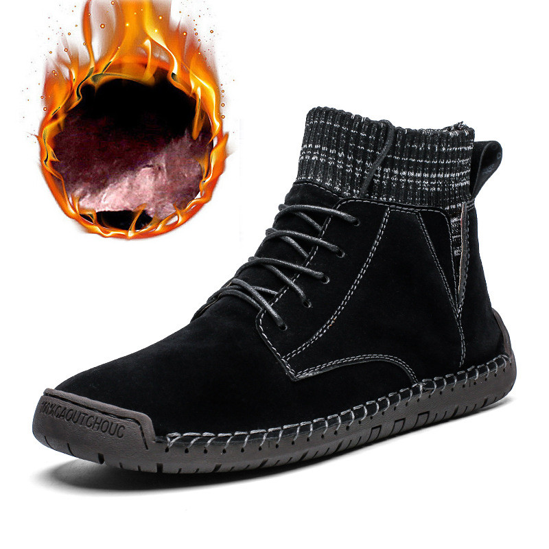 Merkmak 2019 New Winter Men Shoes Fashion Lace-up Winter Sock Shoes British Style Men Ankle Booties Big Size Warm Snow Boots