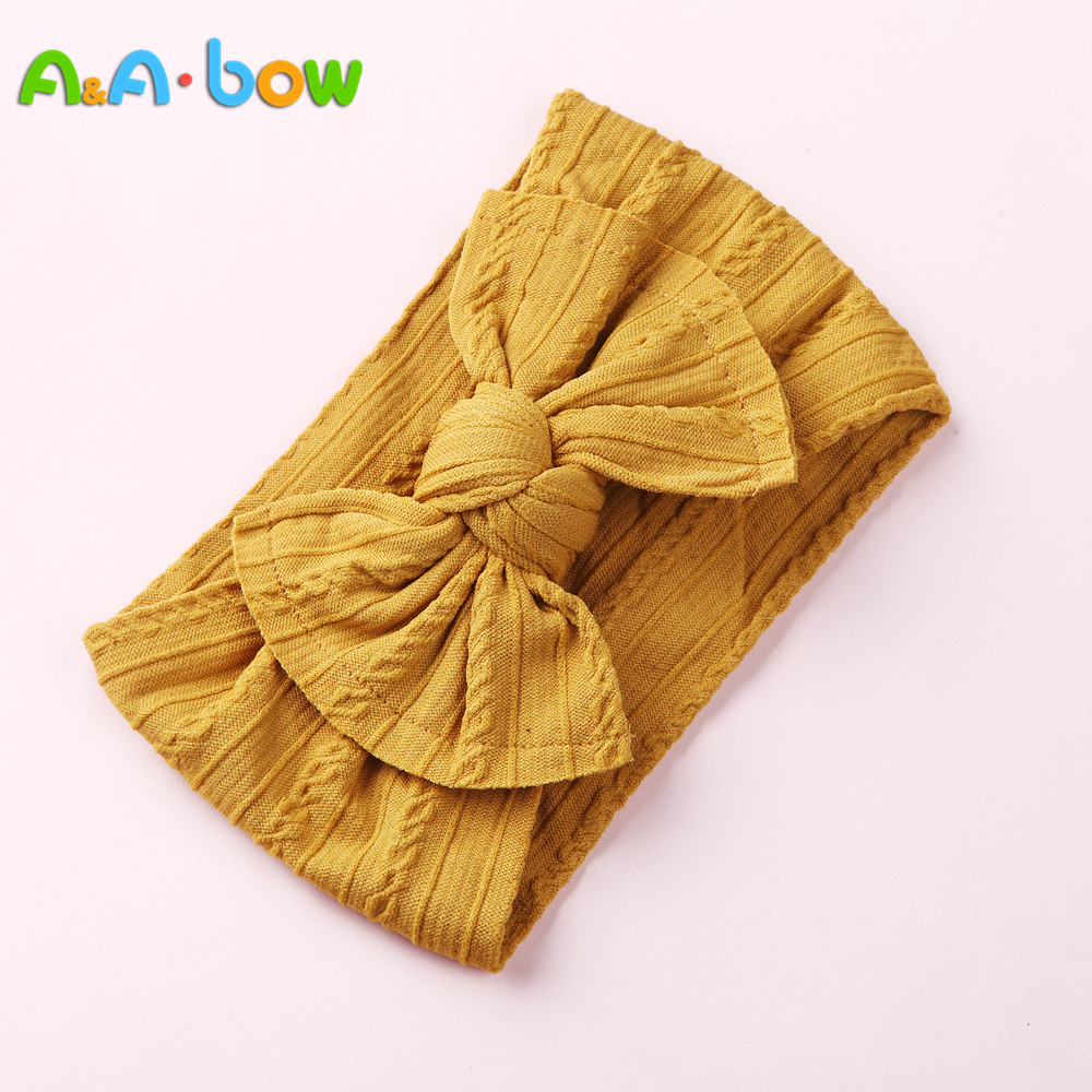 1PCS New Braid Nylon Bow Headbands,Cable Knit Solid Wide Nylon Headbands Turban, Baby Girls Head Wrap Hair Accessories 27 colors(China)