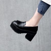2019 wild England tassels small shoes retro thick with single shoes female Japanese Harajuku thick bottom platform shoes high he