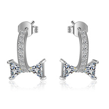 Trendy Shine CZ Zircon 925 Sterling Silver Ladies Stud Earrings Jewelry Women Gift Anti Allergy Cheap