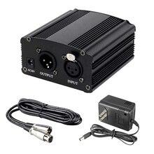 48V Phantom güç kaynağı ile ab/abd adaptörü XLR 3 Pin mikrofon kablosu herhangi bir kondenser mikrofon müzik kayıt cihazları