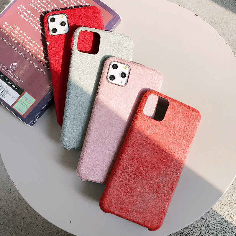 Scrub Bont Leather Case voor iphone XR X XS 11 Pro Max soft silicone case voor iphone 6 6s 7 8 Plus Stofdicht slim shell