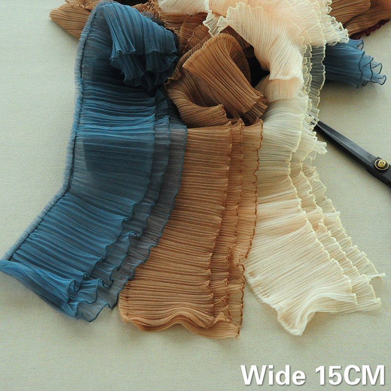 15CM Wide Three Layers 3D Pleated Chiffon Lace Small Wave Ruffle Trim Embroidery Ribbon Dress Fluffy Skirt DIY Sewing Supplies(China)