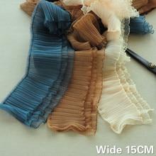 15CM Wide Three Layers 3D Pleated Chiffon Lace Small Wave Ruffle Trim Embroidery Ribbon Dress Fluffy Skirt DIY Sewing Supplies asymmetric ruffle trim ditsy skirt