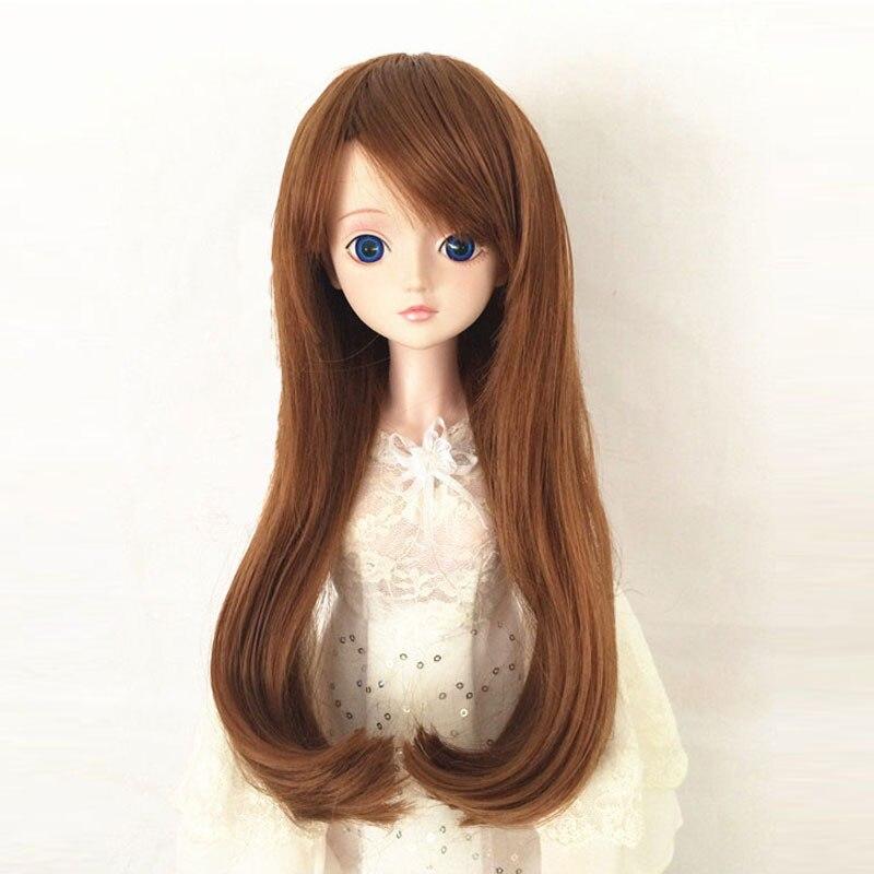 BJD Doll 1//3 9-10 Wig Long Wave Hair Bangs High Temperature Fiber Girl Yellow
