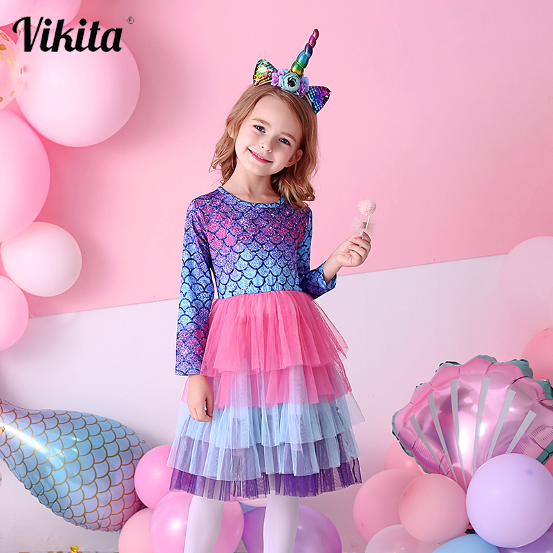 Vikita crianças tutu vestido para meninas manga longa festa de formatura vestidos crianças sereia unicórnio vestidos crianças princesa vestido de outono
