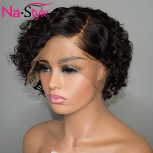 Image 3 - Pixie Cut Lace Wig Preplucked Blunt Cut Bob Lace Front Wigs Short Human Hair Wigs 150 250 Curly 13x4 Lace Front Human Hair Wigs