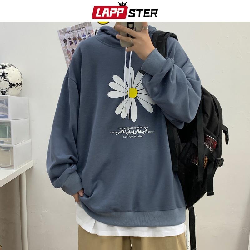 LAPPSTER Men Harajuku Flower Graphic Hoodies 2020 Autumn Mens Japanese Streetwear Sweatshirts Male Vintage Casual Hooded Hoodie