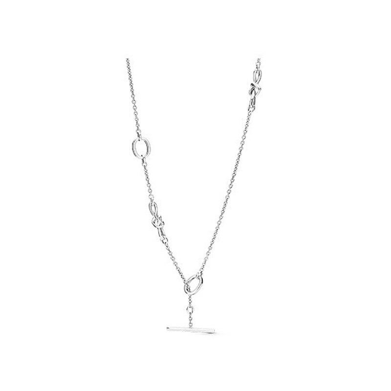 2019【nouveaux produits】 925 en argent sterling 1:1 collier en forme de T noué entrelacé en forme de coeur peut être ajusté accessories398080