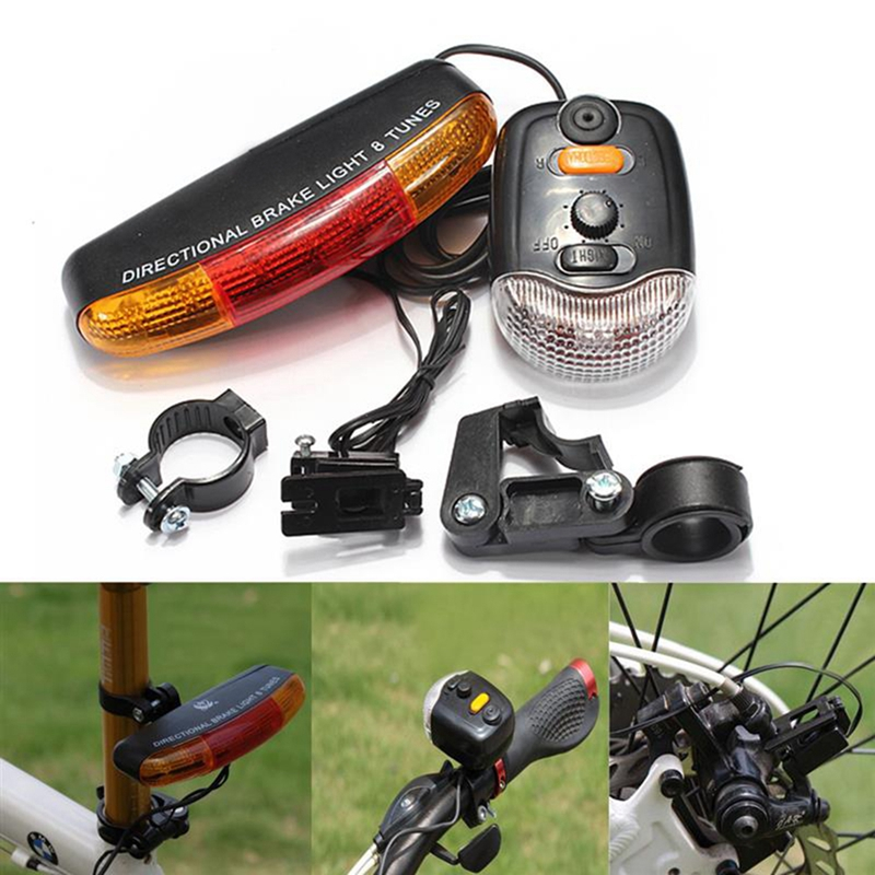 For Cycling Bicycle 3 In 1 Bike Turn Signal Brake Tail 7 LED Light Electric Horn