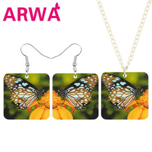 ARWA Acrylic Square Monarch Butterfly Flower Jewelry Sets Lovely Animal Insect Necklace Earrings For Women Kids Fashion Gifts(China)
