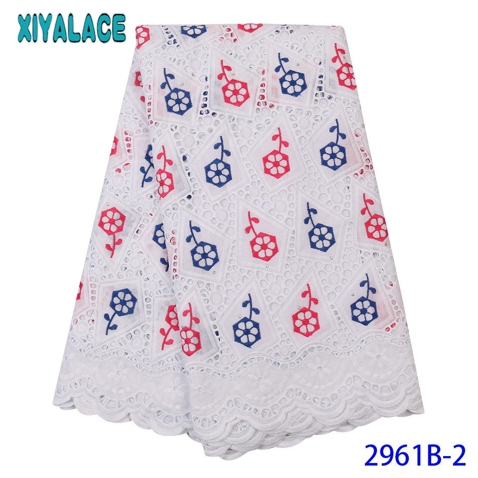 New Flowers Pattern Dry Lace,Hollow Out Cotton Lace Fabric,High Quality Nigerian Colorful Lace Fabric With Stones KS2961B-2