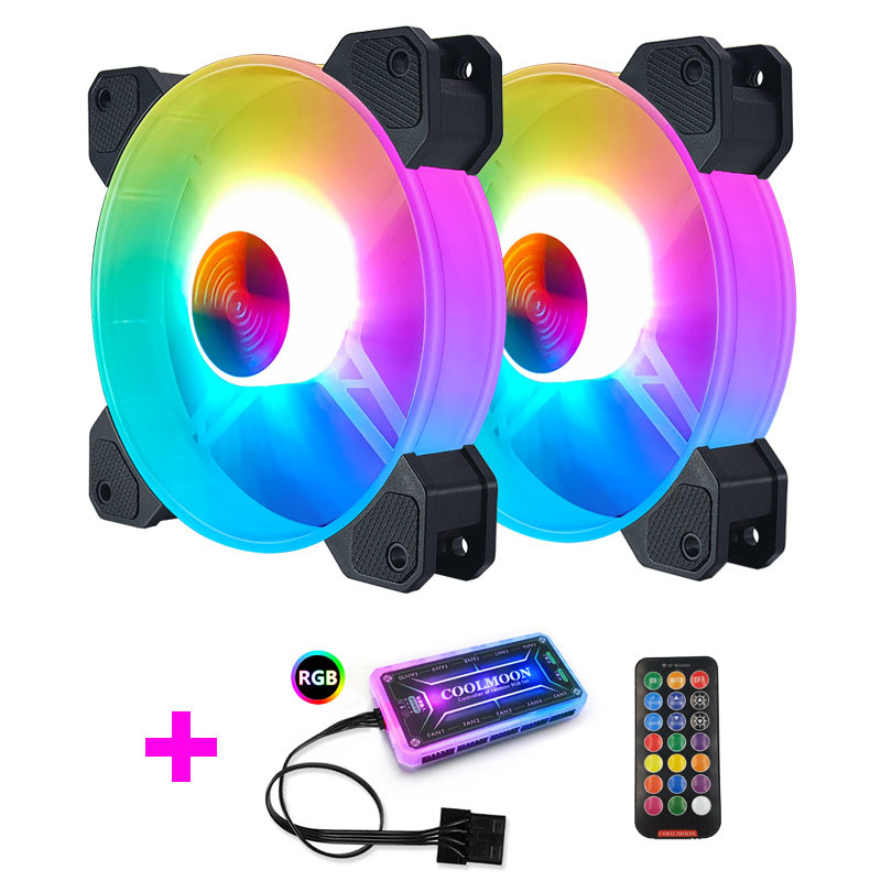COOLMOON F-YH Computer Case PC Cooling Fan RGB Adjust 120mm Quiet + IR Remote New Computer Cooler RGB CPU Case Fan TWO In One