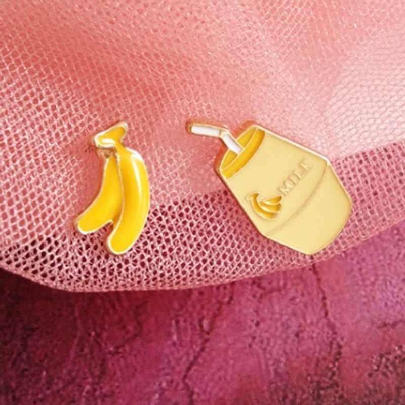 1 Pair Divertente Frutta Latte Asimmetrico Orecchini con Perno di Banana Latte Alla Fragola Asimmetrico Orecchini con Perno Delle Donne Delle Ragazze Gioelleria Raffinata E Alla Moda