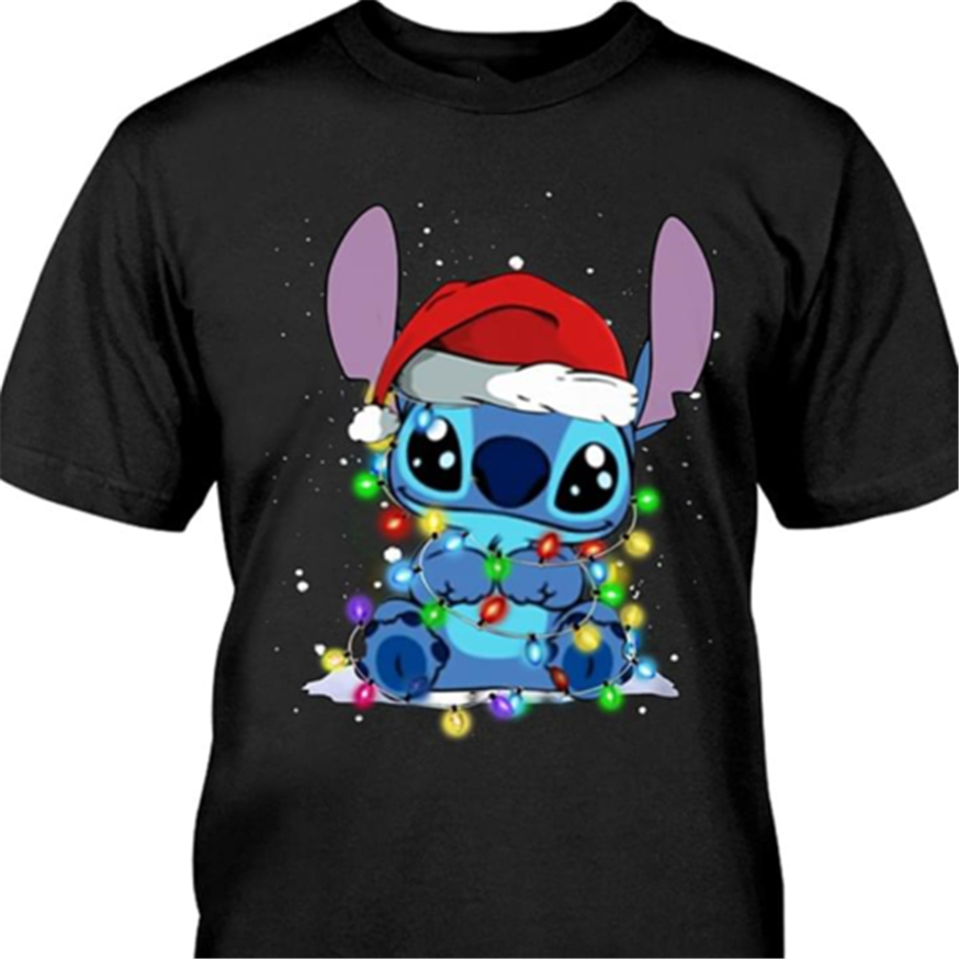 Santa Stitch Shirt Stitch Christmas Tshirt Black Cotton Men Made In Usa High Quality Tee Shirt