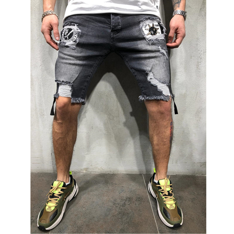 Mens Ripped Short Jeans Brand Clothing Printed Jeans And Shorts  Breathable Denim Shorts Male Size 28-40