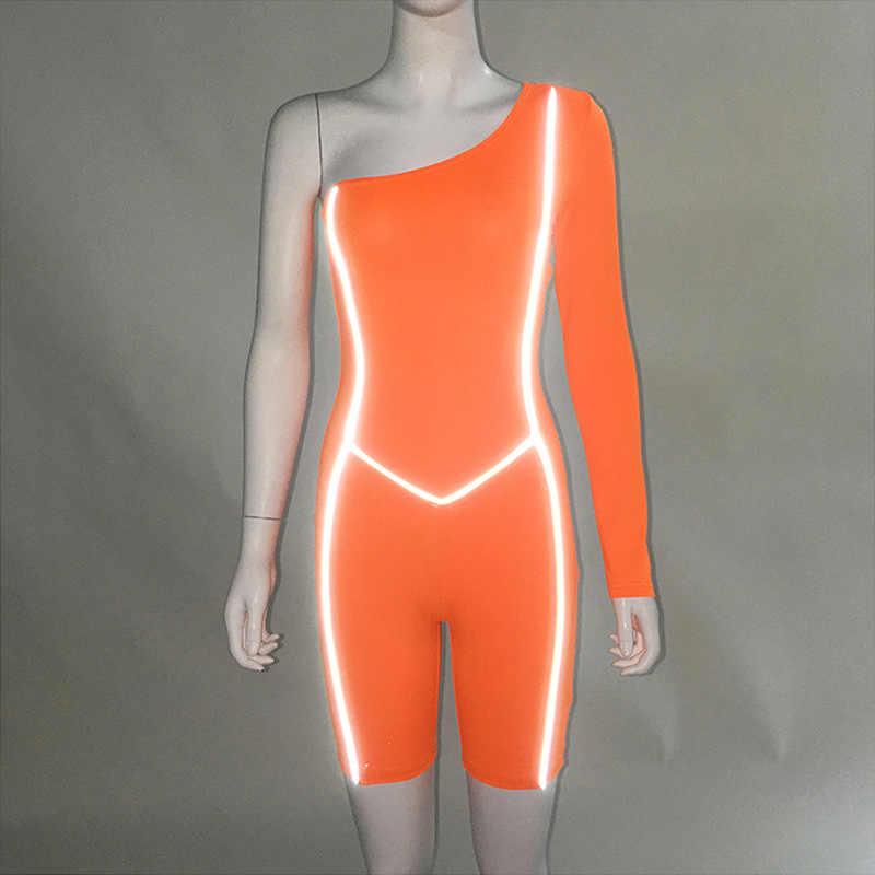 Jedno ramię Playsuit Sexy czarny body z długim rękawem klub Outsuits odblaskowe Skinny Fitness Patchwork Playsuit odzież sportowa kobiety
