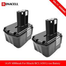 Batería de herramienta eléctrica recargable 6000mAh para Hitachi 14,4 V EB1414S EB14B EB1412S 324367 EB14S DS14DL DV14DL CJ14DL DS14DVF3 L50