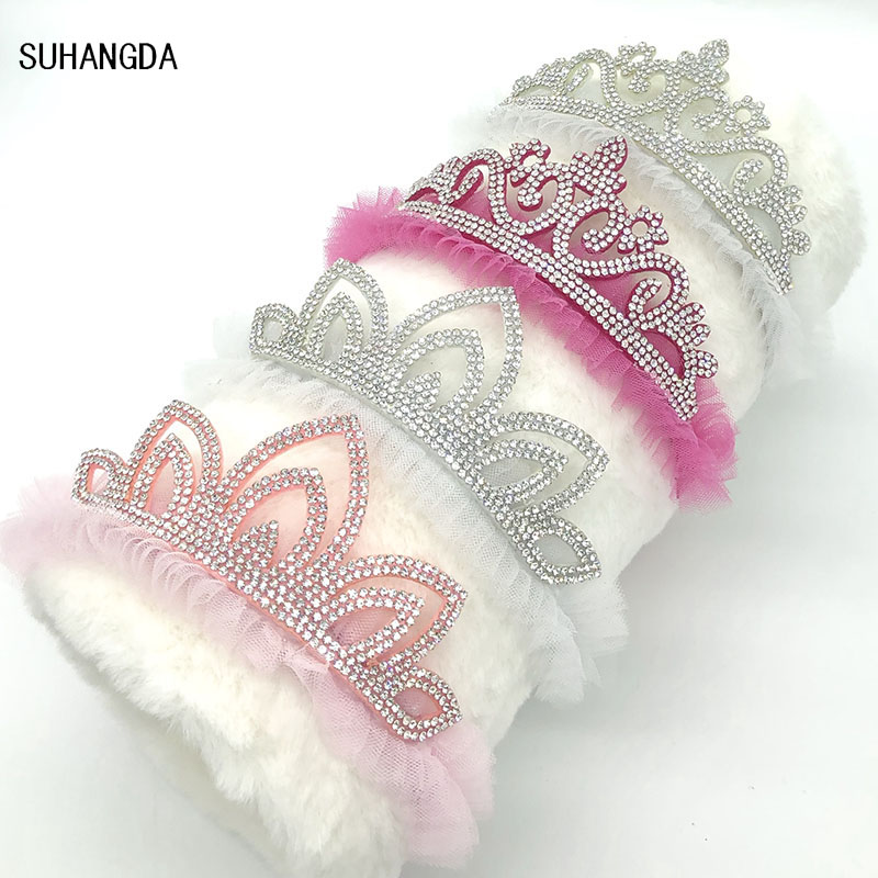 1Pcs New Rhinestone Glittering Crown Headband Girls Hair Band Head Hair Accessories Princess Tiara Headband Kids   Headwear   Party