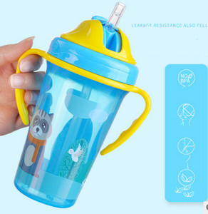 400ML Cute Baby Feeding Cup with Straw BPA Free Portable Feeding Bottle Leak Proof with Handle Kids Training Tritan Bebe Copos(China)