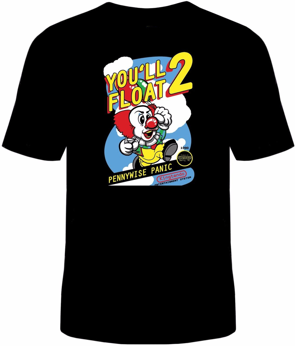 Stephen King IT NES Mens T-Shirt Funny Cotton Adult Tee Sizes Pennywise New