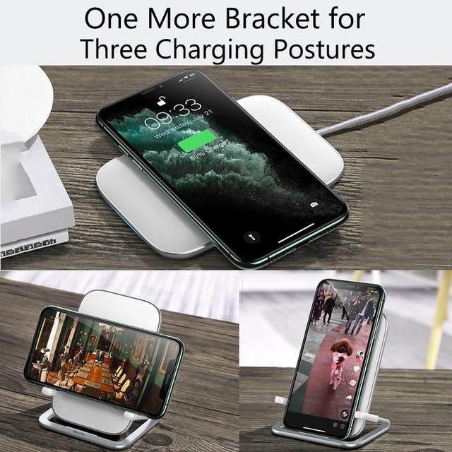 Baseus 15w qi carregador sem fio suporte qi carga rápida suporte do telefone multifuncional almofada de carregamento sem fio para iphone 11 pro samsung 4