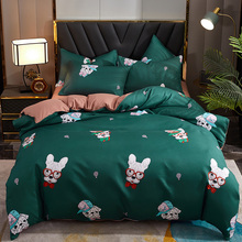 Hot sale 4pcs bedding, four seasons available quilt cover, Cartoon bed sheet, pillowcase*2, bed leaf hat queen bed