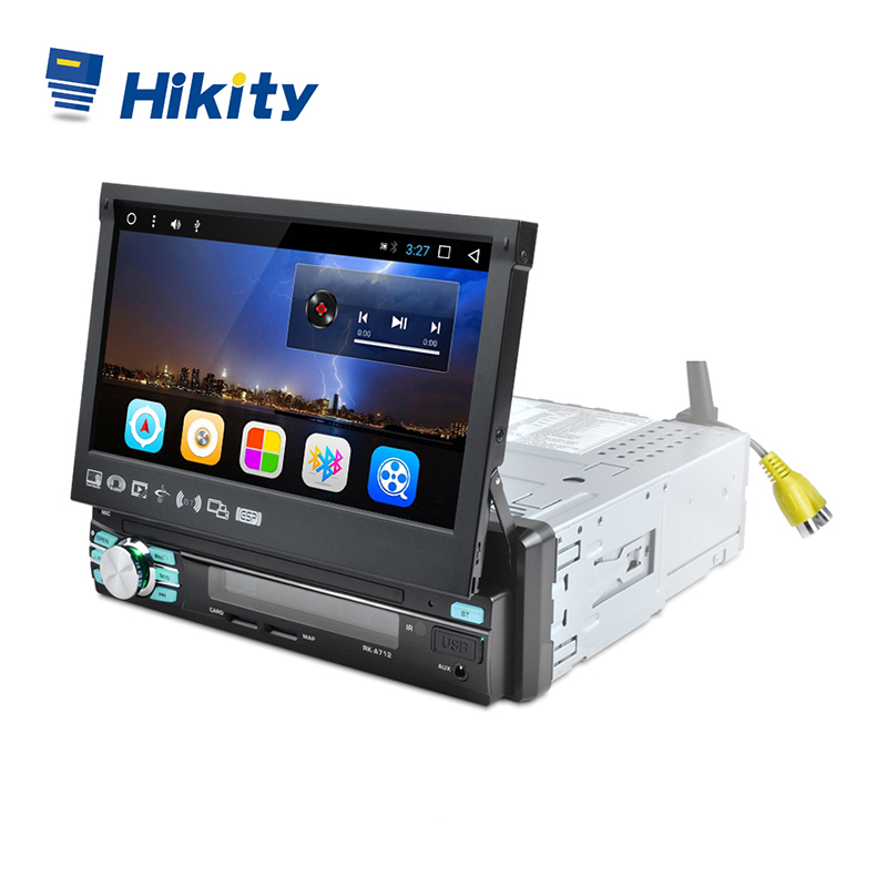 Hikity 1 din Car Radio Player Auto Retractable Touch Screen Android GPS Wifi Car Multimedia MP5