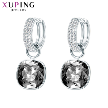 Xuping Jewelry Fashion  Crystals Drop Earrings with High Quality Rhodium Plated for Women Mother Gift M66-203 promotion 2016 new earrings water drop shape with big cz rhodium plated women earrings