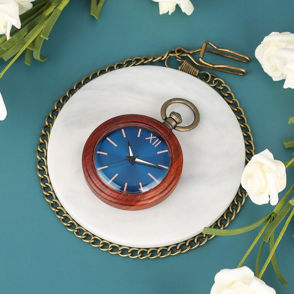 Retro Blu-ray Surface Dial Pocket Watch Men Red Sandalwood Case Exquisite Bronze Rough Chain Women Necklace Gift Zuster Klokje