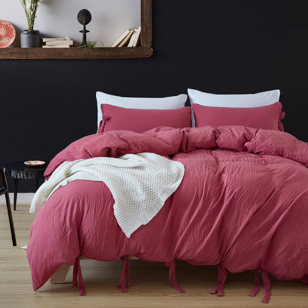 America Size Simple Solid Color Comfortable Quilt Cover Washing Lace-up Three-piece Home Textile Set