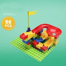 Pop toys 56-100 pces animais de mármore corrida grande tamanho blocos de construção grandes tijolos com base bola pista c