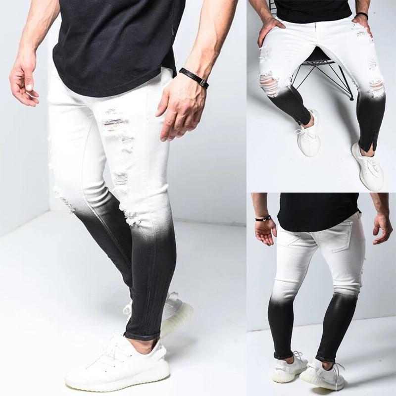 Fashion Gradient Black White Mens Jeans Skinny Ripped Denim Pencil Pants Pantalones Man Slim Streetwear Hip Hop Jean Plus Size