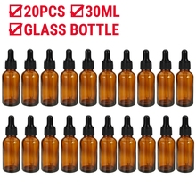 20 PCS Amber/clear Empty Spray Dropper Bottle Storage Container Refillable Plastic/glass Bottle Makeup Cosmetic Tool for Travel