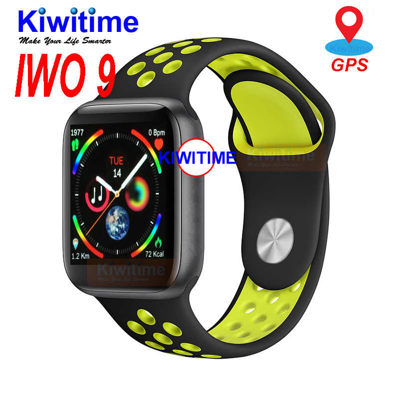 KIWITIME IWO 9 Smart Watch Series 4 44mm GPS Sports Heart Rate Monitor Smartwatch for Apple iOS 10 iPhone 8 Xiaomi Android Phone