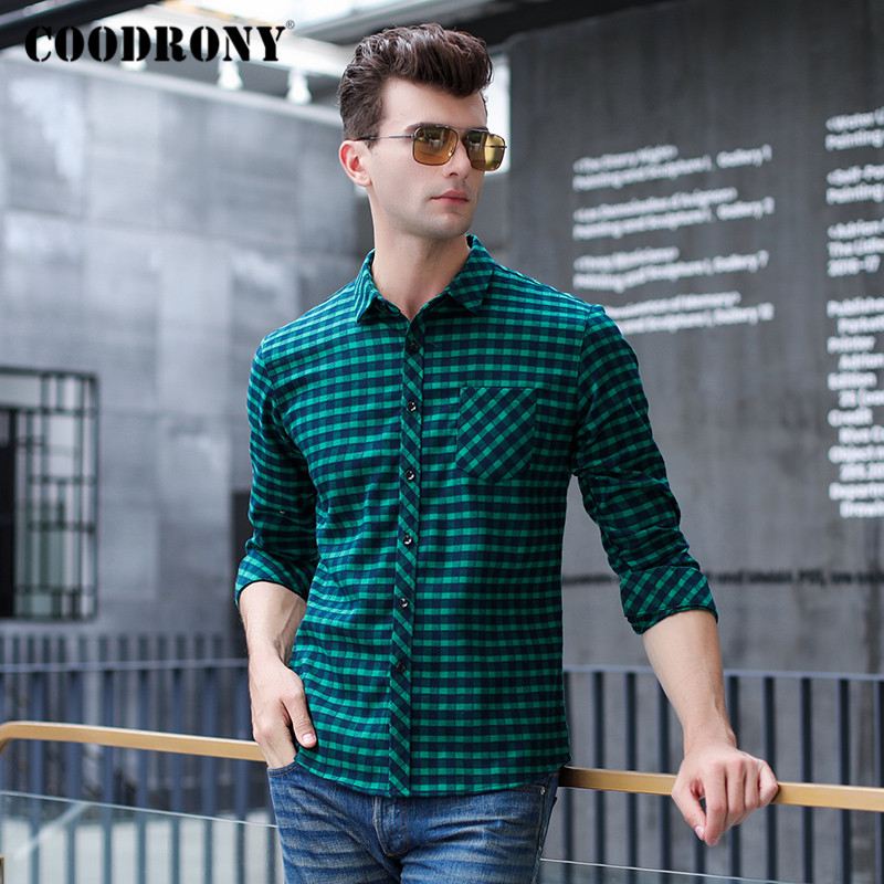 COODRONY Brand Shirt Men Fashion Plaid Long Sleeve Mens Shirts Spring Autumn Business Casual Camisa Masculina With Pocket C6001