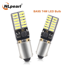 NLpearl 2x Signal Lamp BA9S T11 T4W LED 24SMD 4014 Chips BA9S LED Car Interior Reading Dome Lights License Plate Light White 12V 10pcs t11 ba9s 5050 5 smd led white light bulb car light source car 12v lamp t4w 3886x h6w 363 high quality