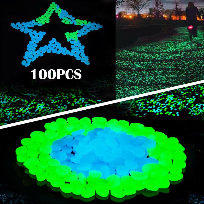 100Pcs Glow in the Dark Pebbles Stones Luminous Outdoor Garden Aquarium Green HG