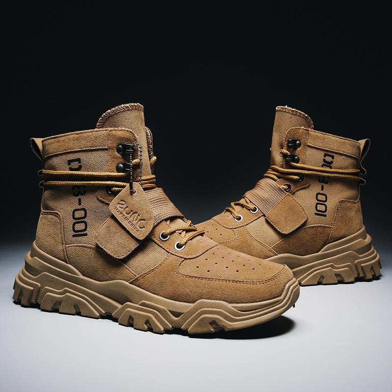 Grande onda camurça do exército bota lona militar dos homens sapatos masculinos segurança motocycle botas de combate dos homens soldado tornozelo bota tático
