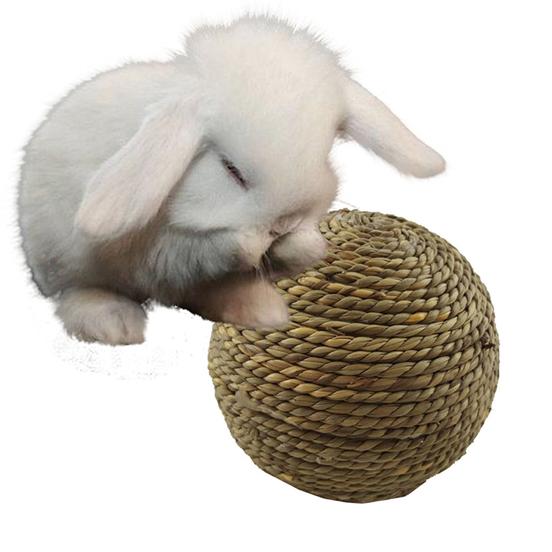1 PC Pet Chew Toy Natural Herb Ball With Bell For Rabbit Hamster Guinea Pig For Dental Cleaning