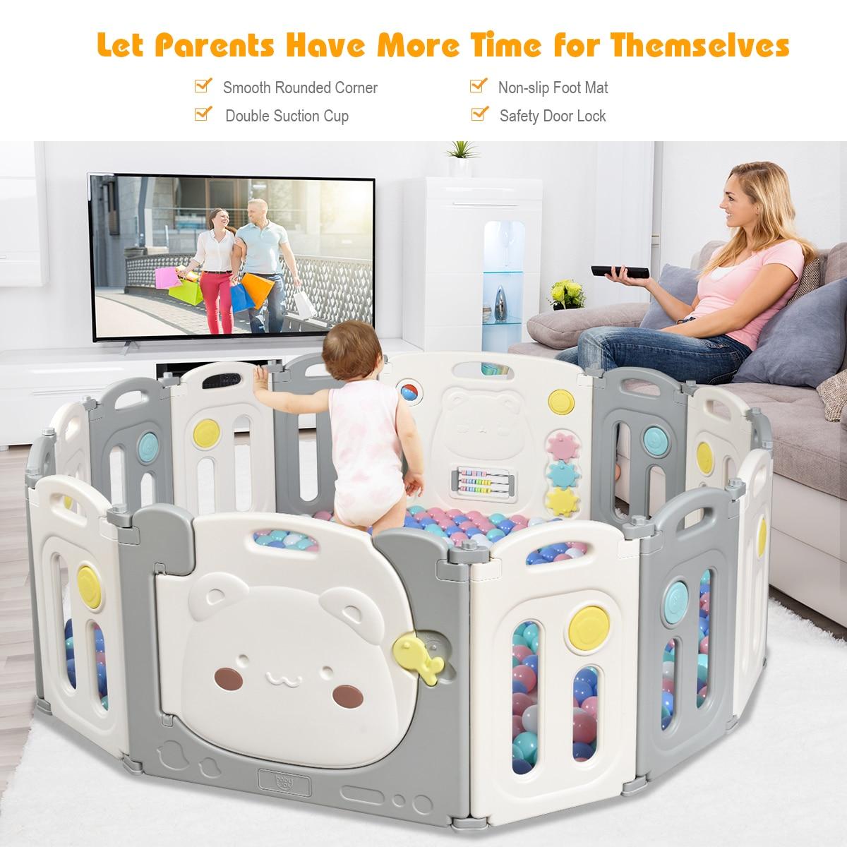 14-Panel Foldable Baby Playpen Child Safety Yard Activity Center w/ Storage Bag