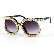 Oversized Rhinestone Frame Square Sunglasses Ladies Diamond