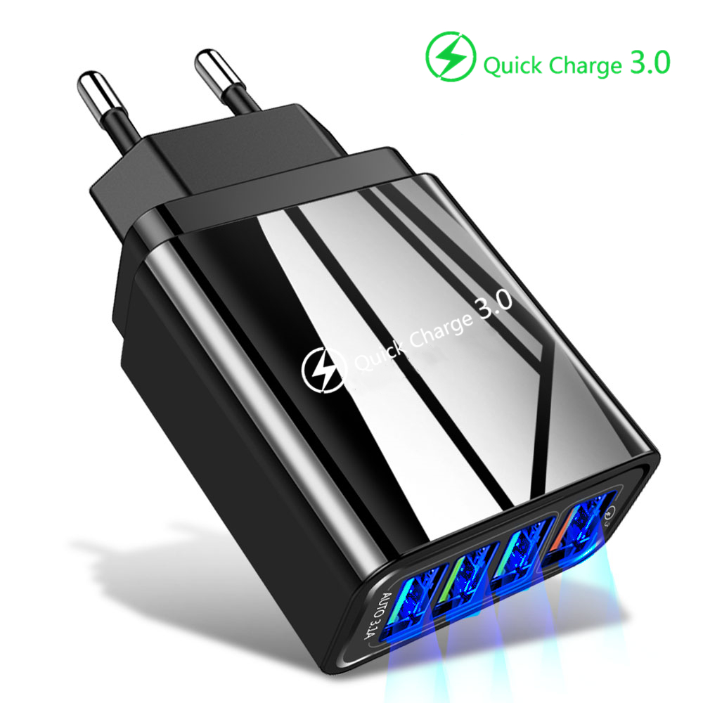 48W Quick Charge 3.0 <font><b>USB</b></font> Phone Charger Wall <font><b>4</b></font> <font><b>Port</b></font> <font><b>QC3.0</b></font> + 3 <font><b>port</b></font> 5V 3A Fast Charging Adapter For iPhone X 7 Samsung A50 Xiaomi image