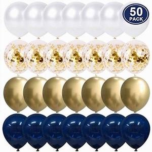 50 шт., 12 дюймов, металлические, золотые, белые, жемчужные воздушные шары, для душа, свадьбы, дня рождения, вечеринки, темно-синие, золотые конфе...