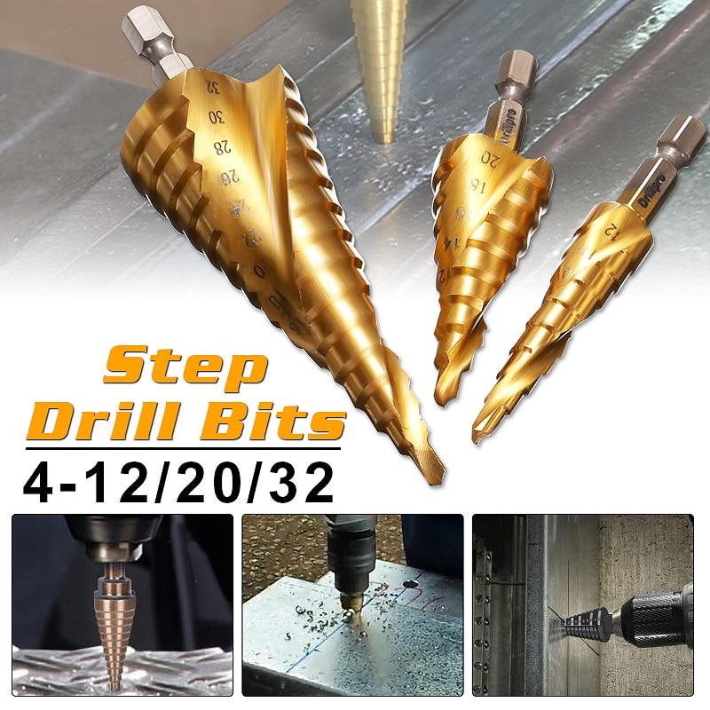 Drillpro 3pcs HSS Spiral Grooved Center Drill Bit 4-12/20/32mm Solid Carbide Mini Drill Accessories Titanium Step Cone Drill Bit