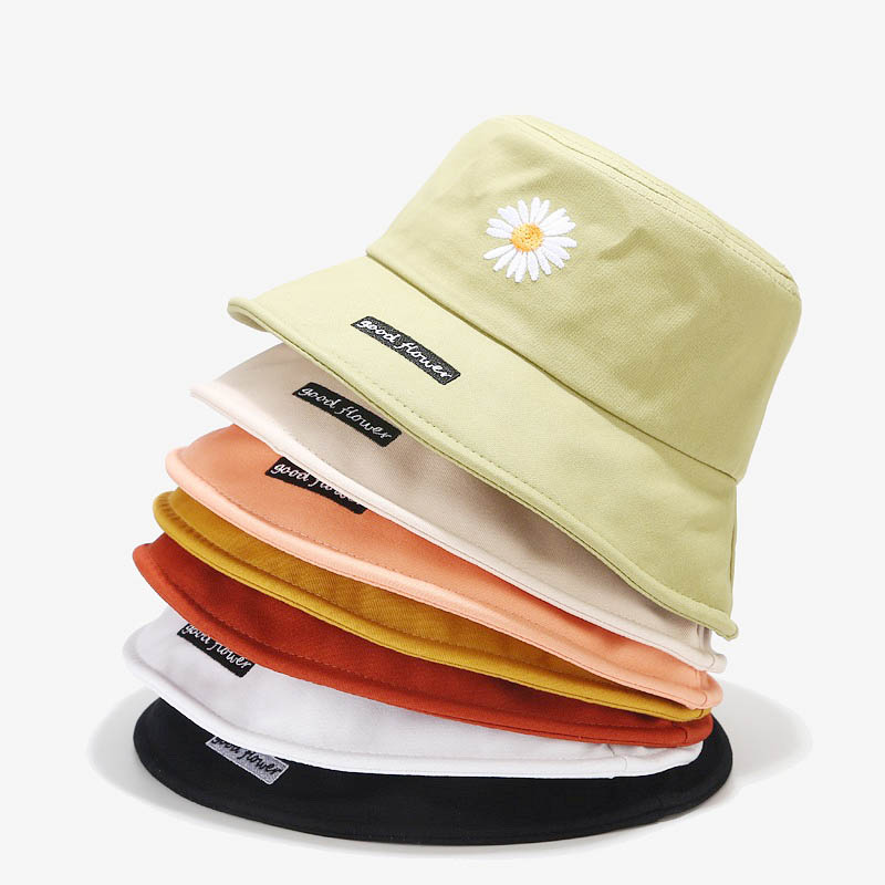 Doitbest Summer Women Bucket Fishing Hats Sunscreen Sun Cap Daisy Embroidery Spring Lady Fisherman Hat For Student Couples