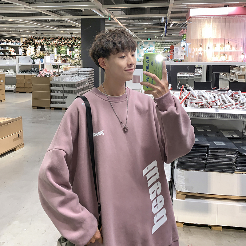 19 Autumn New Korean Version Of The College Wind Casual Personality Loose Cartoon Print Round Neck Pullover Harajuku